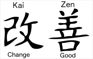 "The kanji for ""Kai"" and ""Zen"" = kaizen"