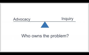 Advocacy versus Inquiry - both are important, but I suggest that there is an imbalance to how most of us show up.