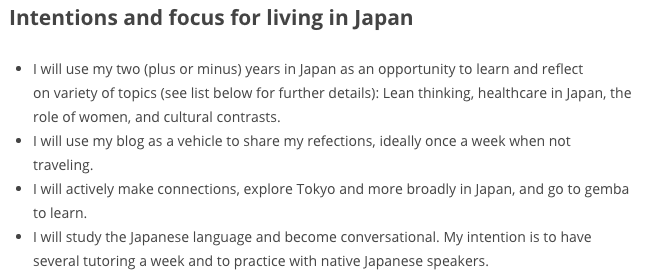 Beginning of year goals and intentions, as written on January 9, 2015 on our first day in Japan.