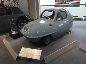 "This 1955 Fujicabin scooter car looks like it could be out of the ""Jetsons"" cartoon."