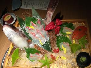 The beautiful sashimi platter in Fukuoka.