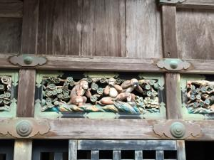 See no evil, hear no evil, and speak no evil. Famous carving at temple in Nikko.