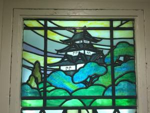 Beautiful stained glass outside of the administration area in the old wing of the hospital.