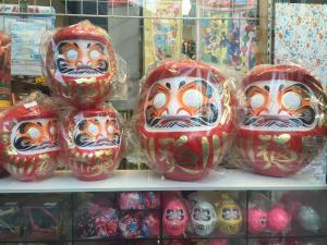 Daruma dolls in a store front in Tokyo