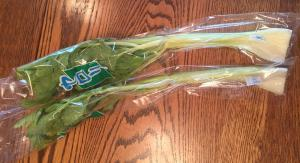 Each individual celery stalk is wrapped in cellophane!