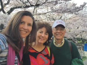 Three generations of deshis and senseis. Walking the Philosopher's Path in Kyoto.