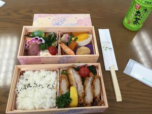 Bento lunch set - a bit different than the typical sandwiches in the United States.