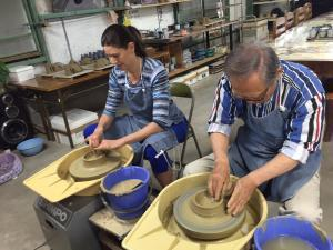 Making pottery with my friend and mentor Isao Yoshino in May, a few weeks before I left Japan.