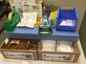 Kanban cards are brought to the blue bin when it is time to be replenished.