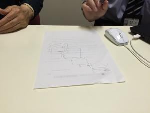 Mr. Yoshino (left) and Mr. Suymiya (right) drawing a hoshin kanri strategy deployment cascade from senior management down to front line.