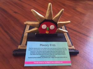 """The Daruma-inspired sun figure called """"Magiq Eyes"""" that was sent to me as a gift from India."""