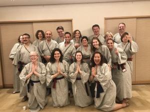 Wearing yukata to our celebration dinner and karaoke!